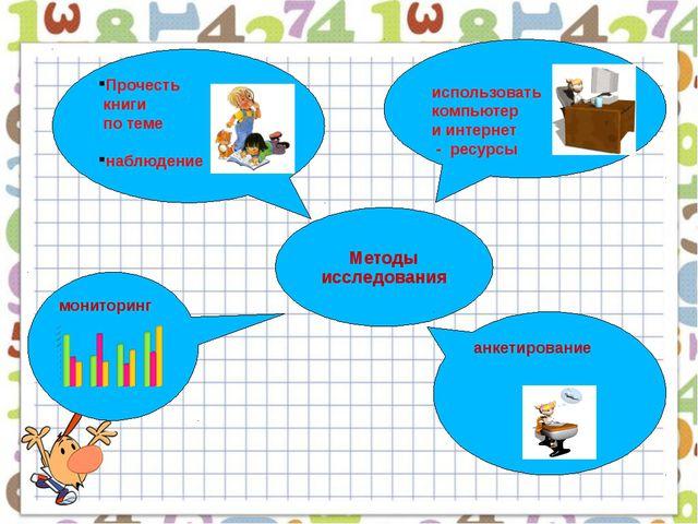 Методы исследования использовать компьютер и интернет - ресурсы Прочесть кни...
