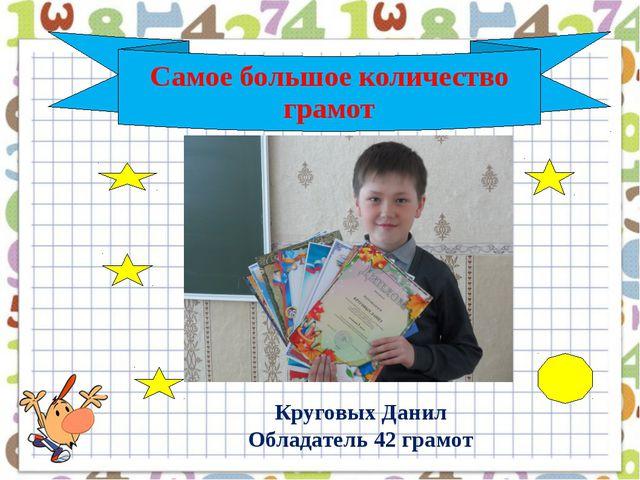 Самое большое количество грамот Круговых Данил Обладатель 42 грамот Катя Сак...
