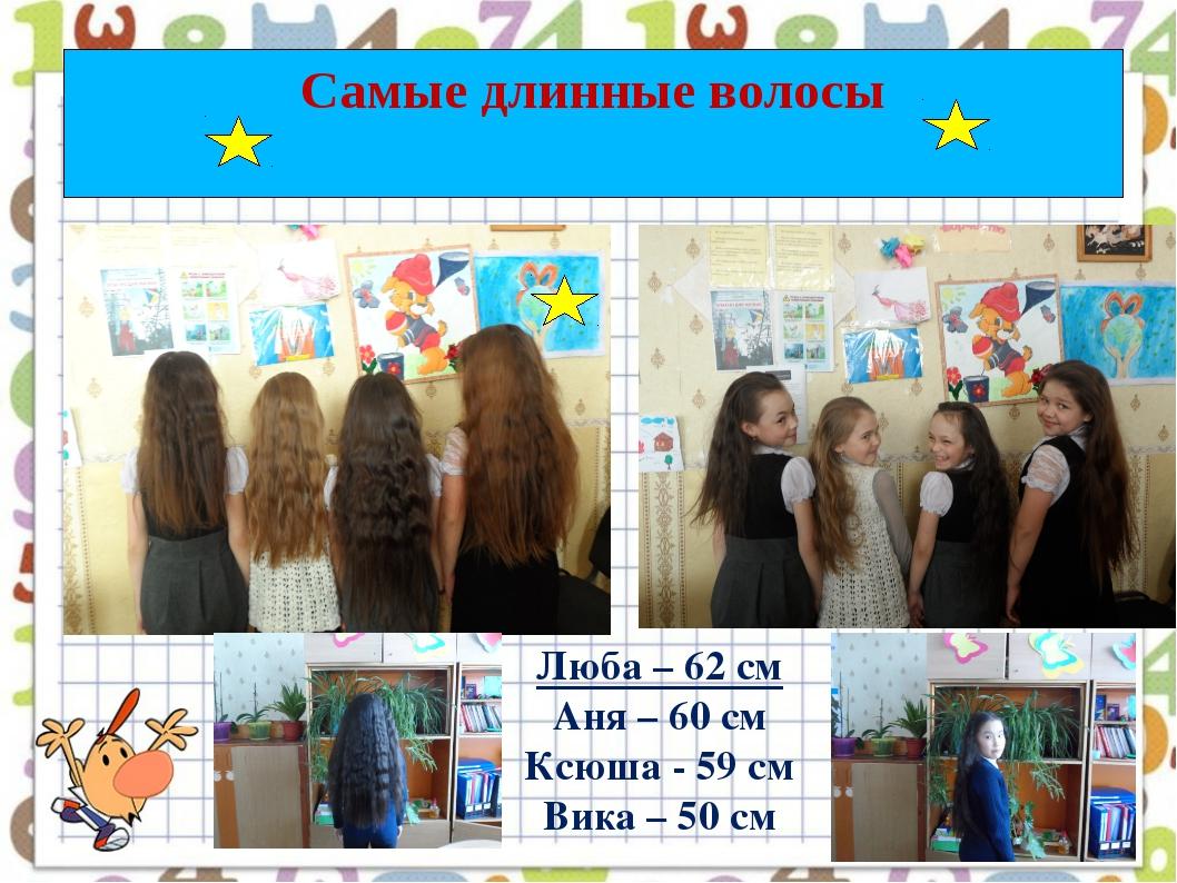 Самые длинные волосы Люба – 62 см Аня – 60 см Ксюша - 59 см Вика – 50 см