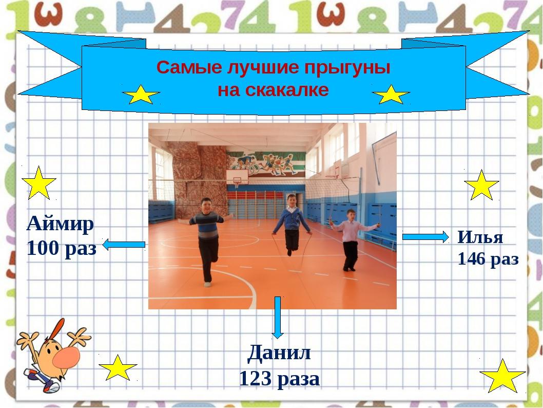Самые лучшие прыгуны на скакалке Илья 146 раз Данил 123 раза Аймир100 раз