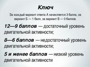 Ключ За каждый вариант ответа А начисляется 3 балла, за вариант Б — 1 балл, з