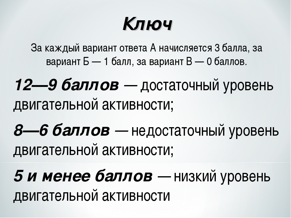 Ключ За каждый вариант ответа А начисляется 3 балла, за вариант Б — 1 балл, з...