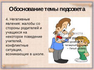 Обоснование темы педсовета 4. Негативные явления: жалобы со стороны родителей