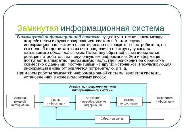 Замкнутая информационная система В замкнутой информационной системе существуе...
