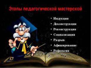Этапы педагогической мастерской Индукция Деконструкция Реконструкция Социализ