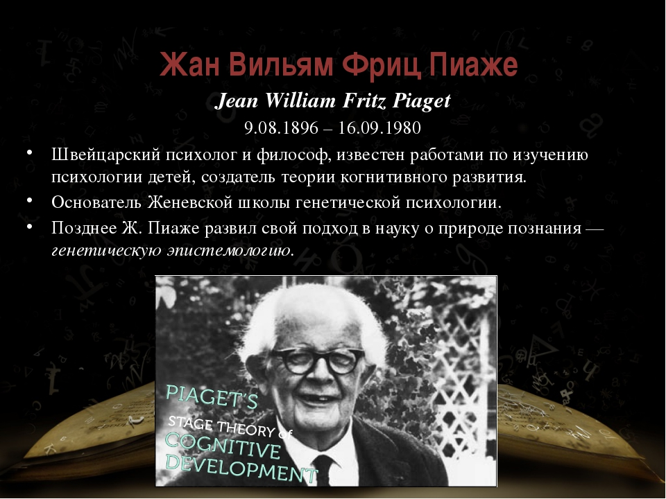 Жан Вильям Фриц Пиаже́ Jean William Fritz Piaget 9.08.1896 – 16.09.1980 Швей...