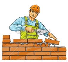 Строитель человек с Дерби инструмент строительный кирпичной …