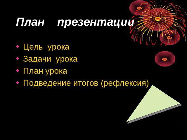 План презентации Цель урока Задачи урока План урока Подведение итогов (рефлек...