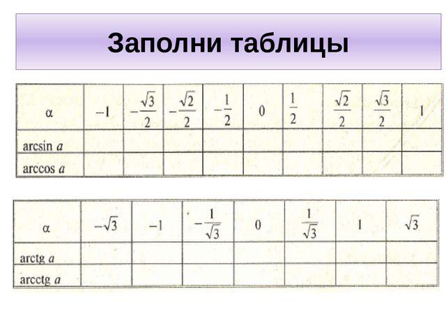Заполни таблицы