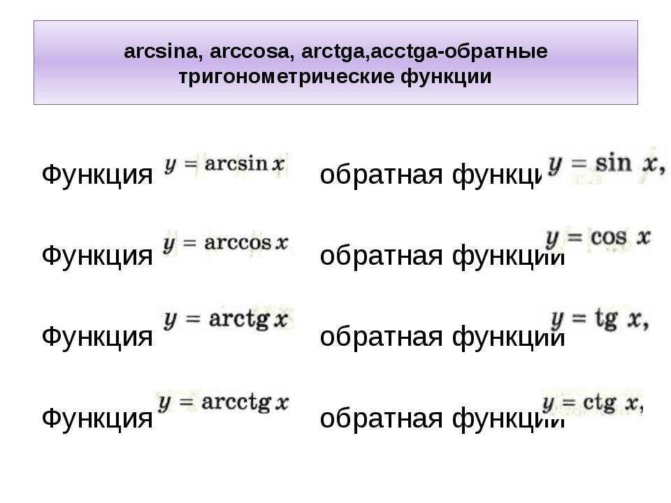 arcsina, arccosa, arctga,acctga-обратные тригонометрические функции Функция о...