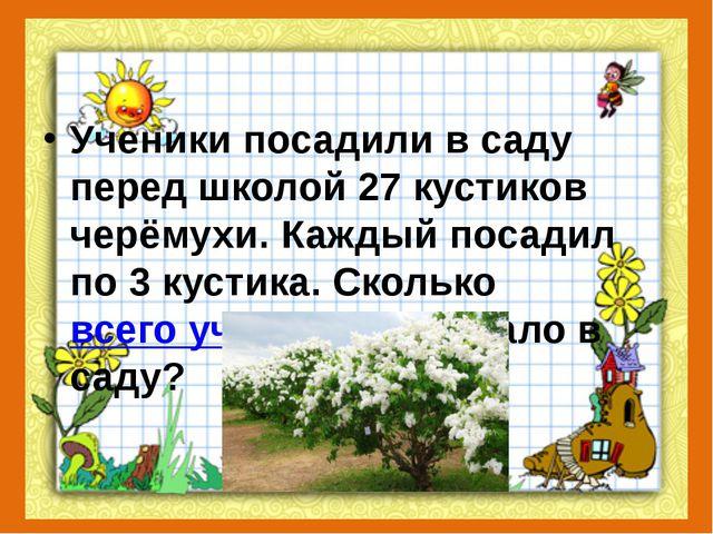 Ученики посадили в саду перед школой 27 кустиков черёмухи. Каждый посадил по...