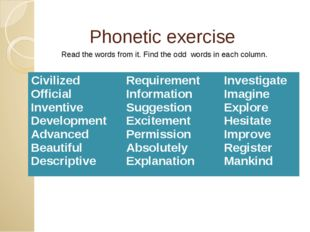 Phonetic exercise Read the words from it. Find the odd words in each column.