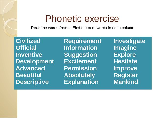 Phonetic exercise Read the words from it. Find the odd words in each column....
