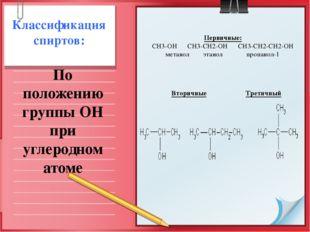 Первичные: СН3-ОН СН3-СН2-ОН СН3-СН2-СН2-ОН метанол этанол