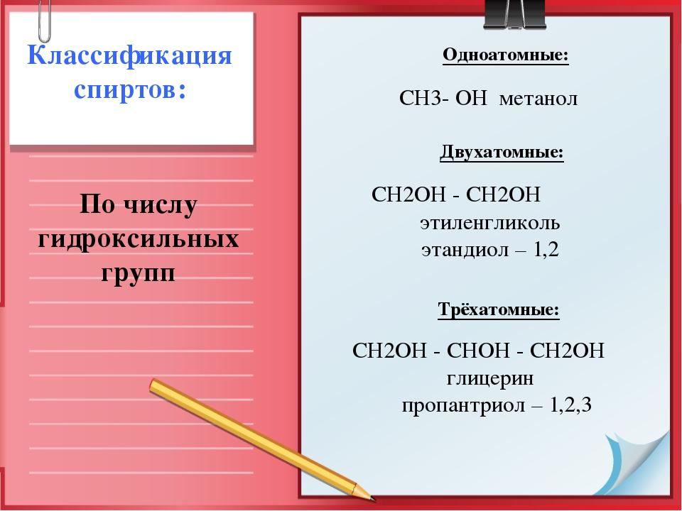 Одноатомные:  СН3- ОНметанол Двухатомные: Классификация...