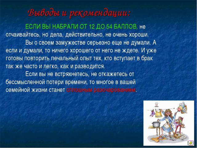 Выводы и рекомендации: ЕСЛИ ВЫ НАБРАЛИ ОТ 12 ДО 54 БАЛЛОВ, не отчаивайтесь,...
