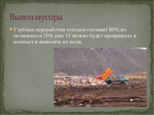 Глубина переработки отходов составит 80%,из оставшихся 20% еще 15 можно будет
