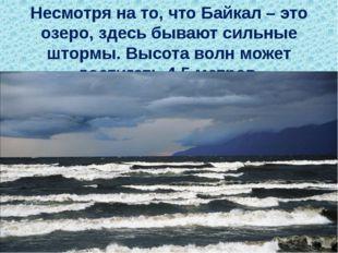 Несмотря на то, что Байкал – это озеро,здесь бывают сильные штормы. Высота в