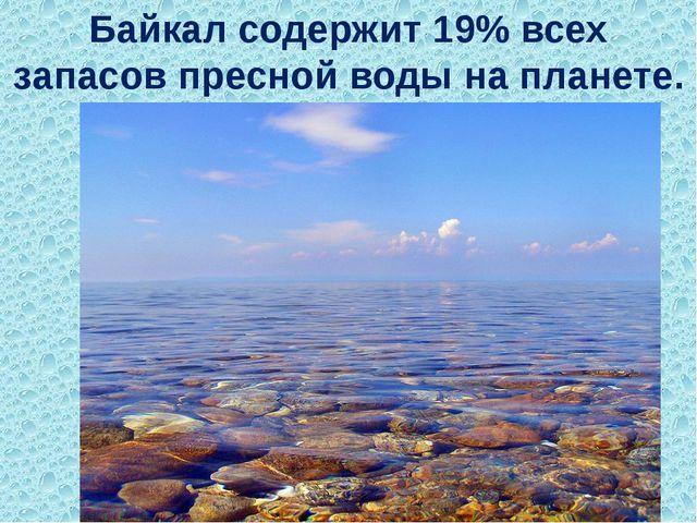 Байкал содержит 19% всех запасов пресной воды на планете.