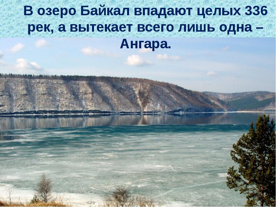 В озеро Байкалвпадают целых 336 рек, а вытекает всего лишь одна – Ангара.