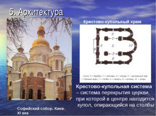 5. Архитектура Софийский собор. Киев. XI век Крестово-купольный храм Крестово