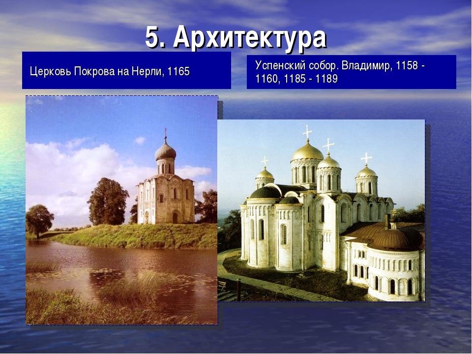 5. Архитектура Церковь Покрова на Нерли, 1165 Успенский собор. Владимир, 1158...