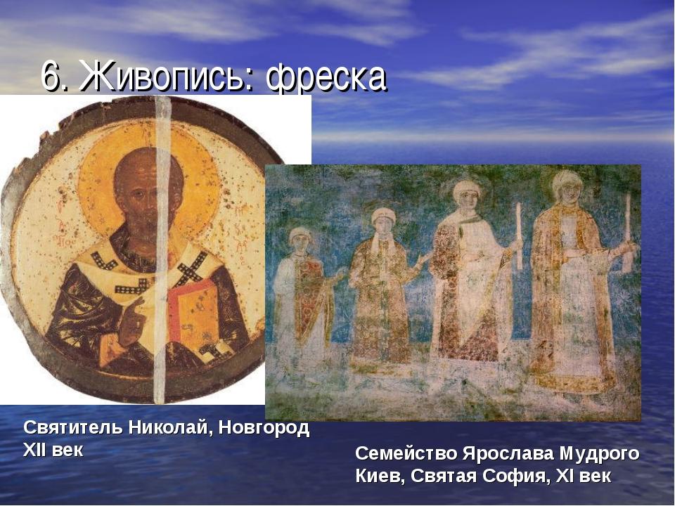 6. Живопись: фреска Святитель Николай, Новгород XII век Семейство Ярослава Му...