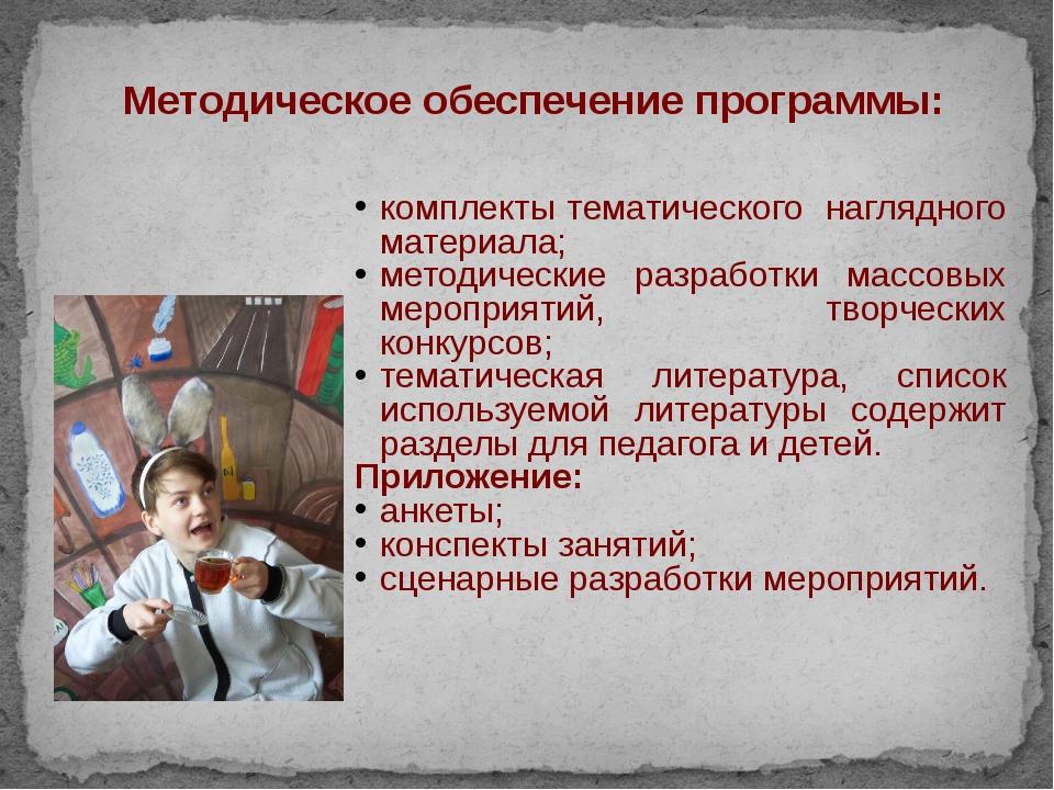 Методическое обеспечение программы: комплекты тематического наглядного матери...