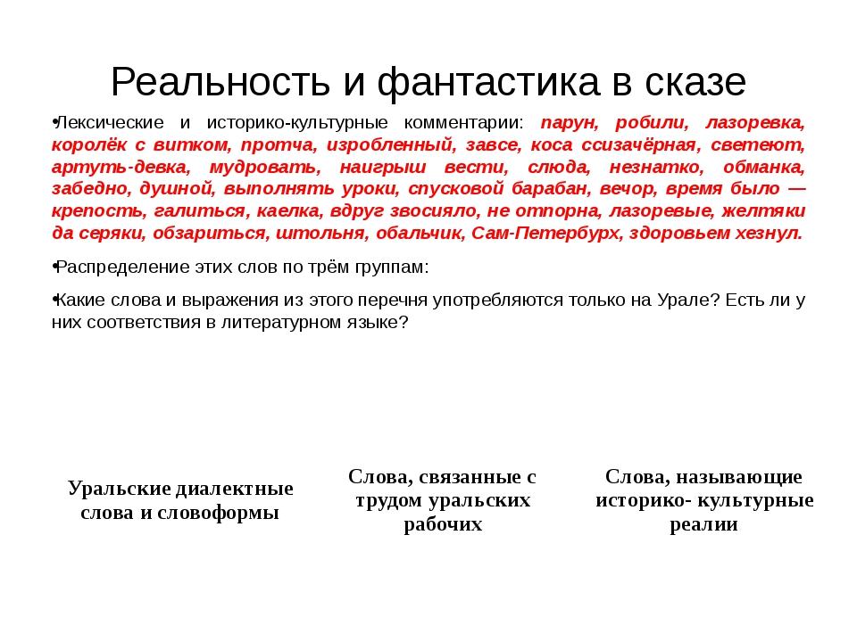 Реальность и фантастика в сказе Лексические и историко-культурные комментарии...
