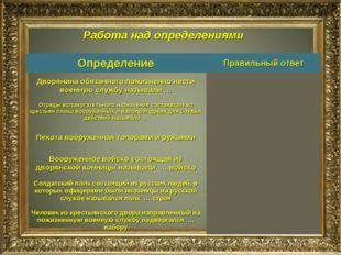 Работа над определениями ОпределениеПравильный ответ Дворянина обязанного по