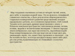 Мир тогдашних язычников состоял из четырёх частей: земли, двух небес и подзе