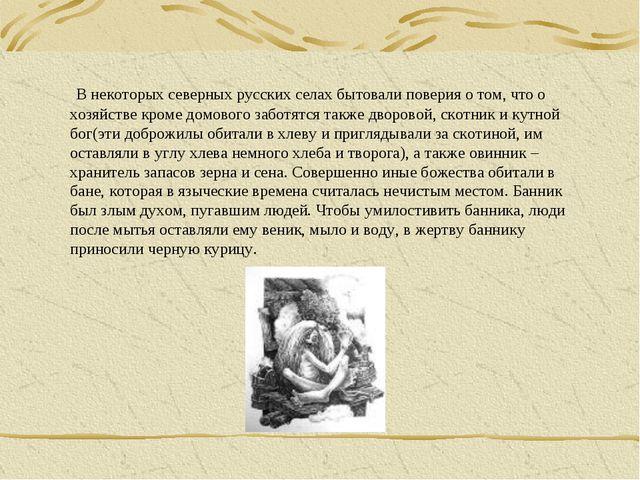 В некоторых северных русских селах бытовали поверия о том, что о хозяйстве к...