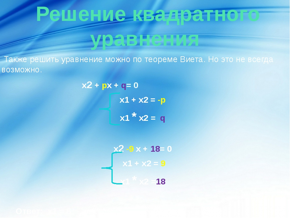 Решение квадратного уравнения Также решить уравнение можно по теореме Виета....