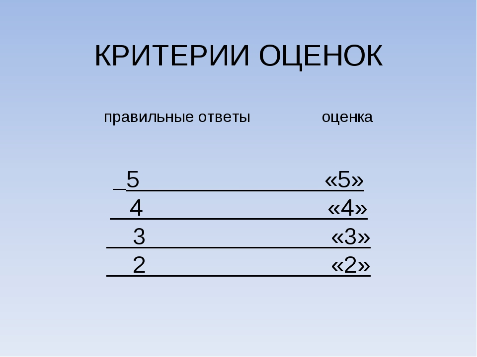 КРИТЕРИИ ОЦЕНОК правильные ответы оценка 5 «5» 4 «4» 3 «3» 2 «2»