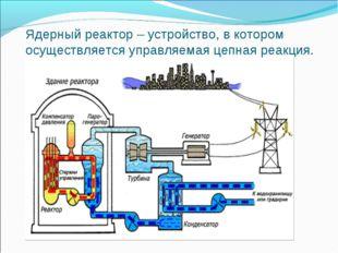 Ядерный реактор – устройство, в котором осуществляется управляемая цепная реа