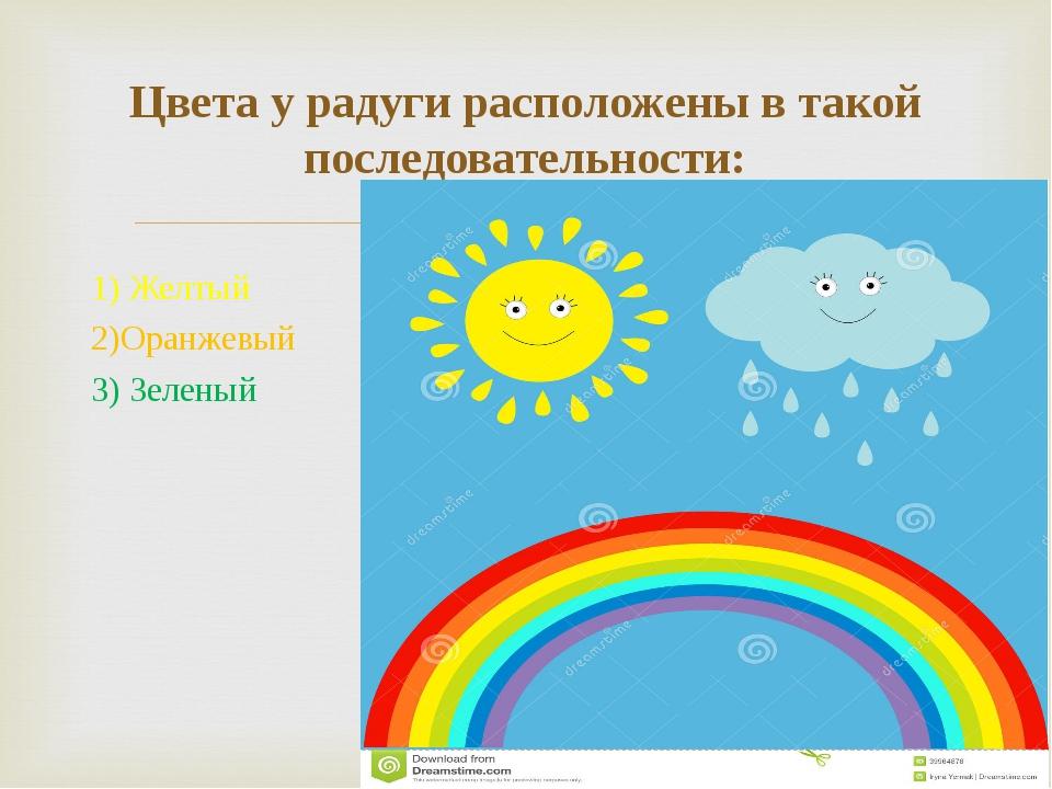 1) Желтый 2)Оранжевый 3) Зеленый Цвета у радуги расположены в такой последова...