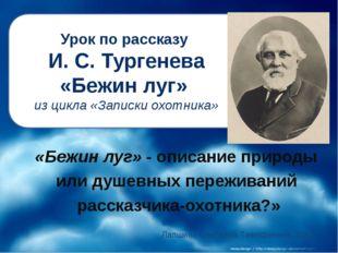 Урок по рассказу И. С. Тургенева «Бежин луг» из цикла «Записки охотника» «Беж