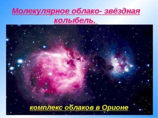 комплекс облаков в Орионе Молекулярное облако- звёздная колыбель.