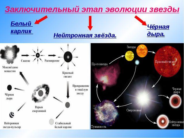 Заключительный этап эволюции звезды Белый карлик Нейтронная звёзда. Чёрная ды...