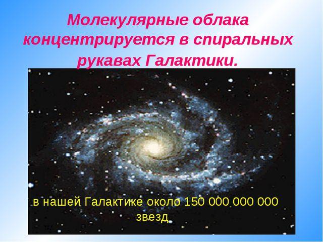 Молекулярные облака концентрируется в спиральных рукавах Галактики. в нашей Г...