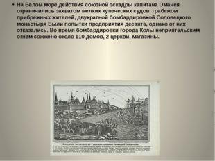 На Белом море действия союзной эскадры капитана Оманея ограничились захватом