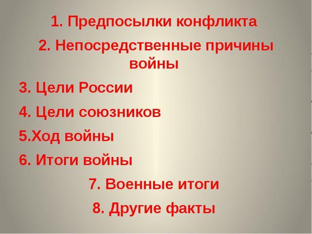 1. Предпосылки конфликта 2. Непосредственные причины войны 3. Цели России 4....
