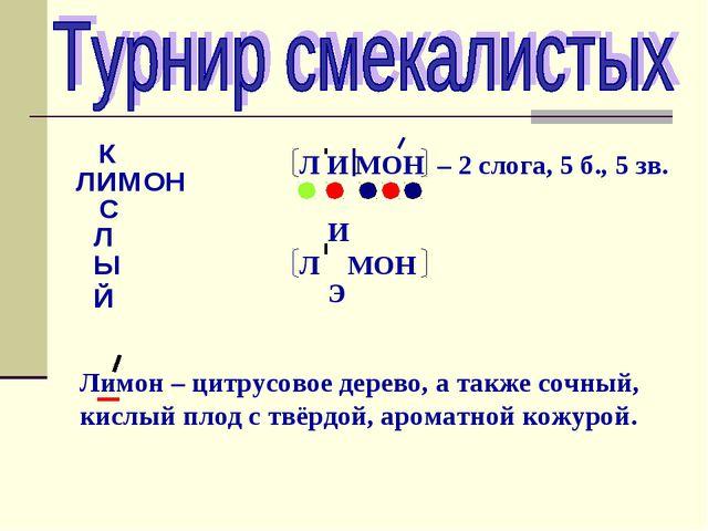 ЛИМОН К С Л Ы Й Л И МОН – 2 слога, 5 б., 5 зв. Л МОН И Э Лимон – цитрусовое д...