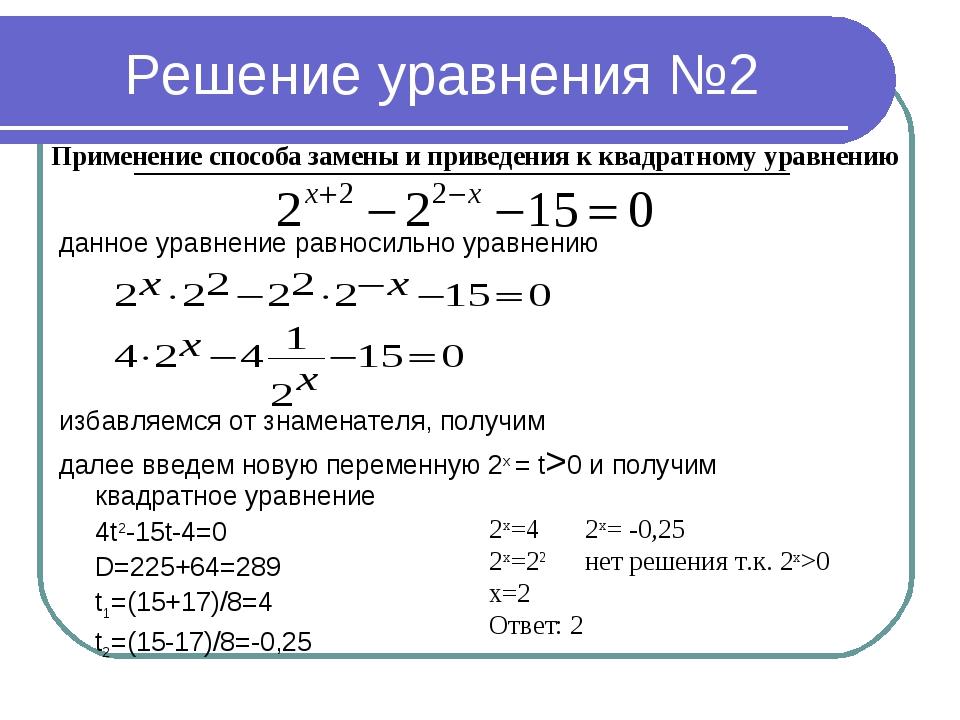 Решение уравнения №2