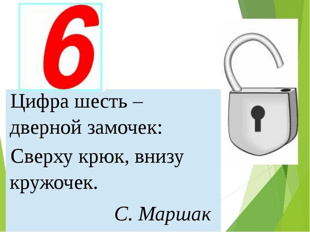 Цифрашесть – дверной замочек: Сверху крюк, внизу кружочек. С. Маршак