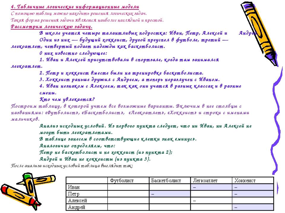 4. Табличные логические информационные модели С помощью таблиц можно находить...