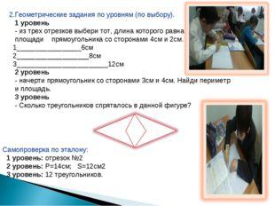 2.Геометрические задания по уровням (по выбору). 1 уровень - из трех отрезков