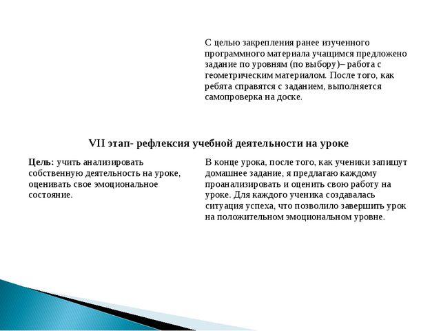 VII этап- рефлексия учебной деятельности на уроке Цель: учить анализировать...