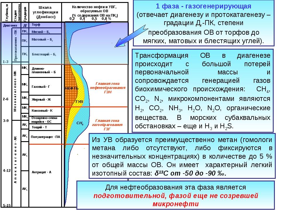 1 фаза - газогенерирующая (отвечает диагенезу и протокатагенезу – градации Дг...