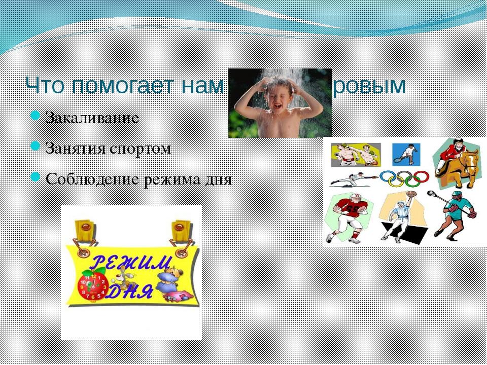 Что помогает нам быть здоровым Закаливание Занятия спортом Соблюдение режима...